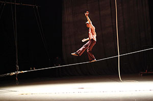 Cnac Technical department construction workshop, rotating double tightrope, designed by Quentin Claude